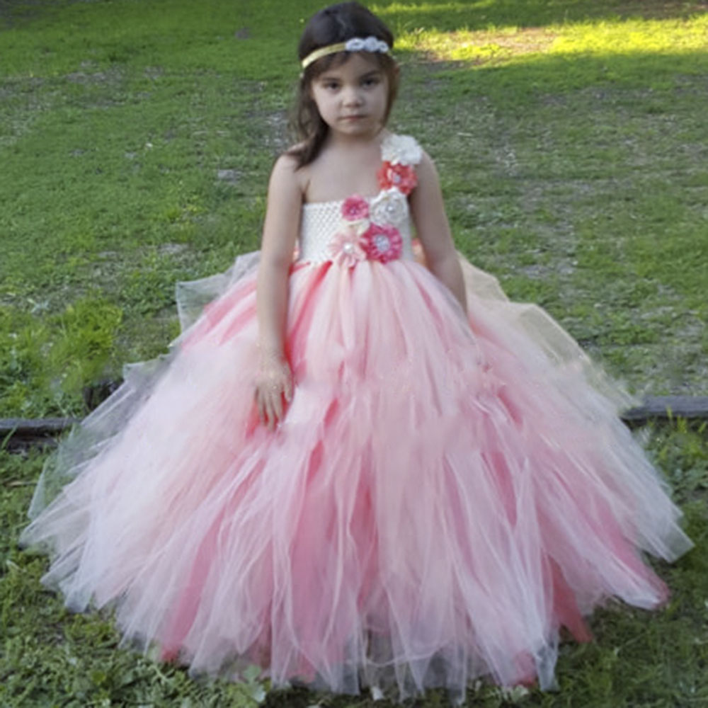 Reserved Vintage Flower girl Wedding Tutu Dress Ivory Peach Coral Full Length Bridesmaid Party Tutu Dresses For Kids Birthday reserved ремень