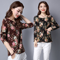 Novas Mulheres Casual Roupa de Inverno do Outono do Algodão T-shirt Top Camisa Básica Tee Floral O-pescoço Tamanho Mais Solto