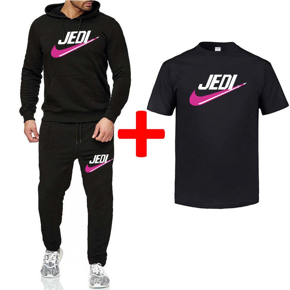 Full Man Tracksuit Brand Autumn/winter JEDI Sporting Suit Hoodies+Sweatpants+T shirts 3 Pieces Sets Slim Tracksuit clothing(China)