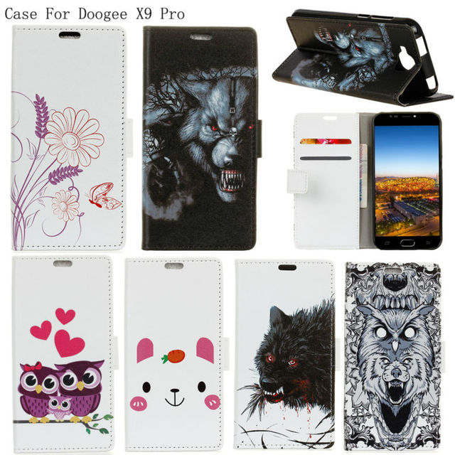 PIERVES Colored Drawing Series Luxury high quality PU leather case For Doogee X9 Pro X9Pro Bag Cover Shield Case