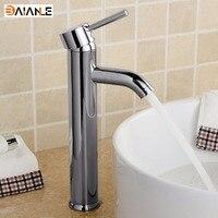 Modern Brass One Hole Single Handle Chrome Bathroom Lavatory Vanity Tub Vessel Bathroom Sink Faucet High
