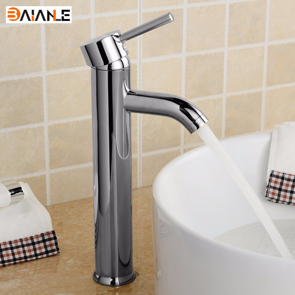 Basin Faucet Modern Brass One Hole Single Handle Chrome Bathroom Lavatory Vanity Tub Vessel Bathroom Sink Faucet High Deck Mount цена