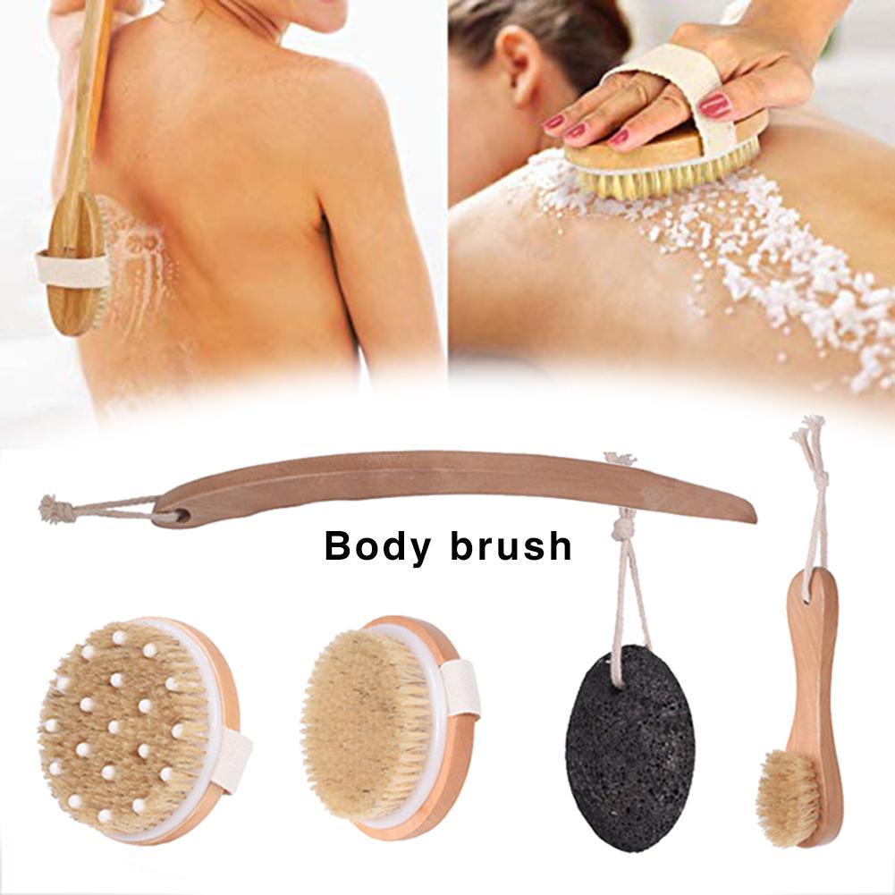 Body Brush Kit 4PCS Exfoliation Body Massage Brush Facial Brush, Pumice Stone To Remove Dead Skin Reduce Cellulite