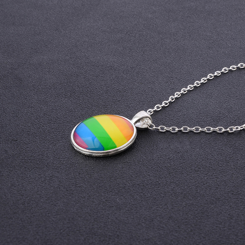 2019 New Fashion Glass Colorful Rainbow Flower Buttons Flag Crystal Pendant Necklace For <font><b>Bisexual</b></font> Lgbt Gay <font><b>Pride</b></font> <font><b>Jewelry</b></font> Gift image