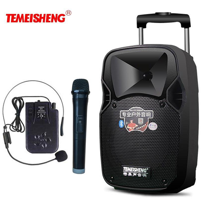 30 Вт высокомощный громкий динамик беспроводной микрофон усилитель портативный динамик литиевая батарея Поддержка TF карта USB Play Move колонка