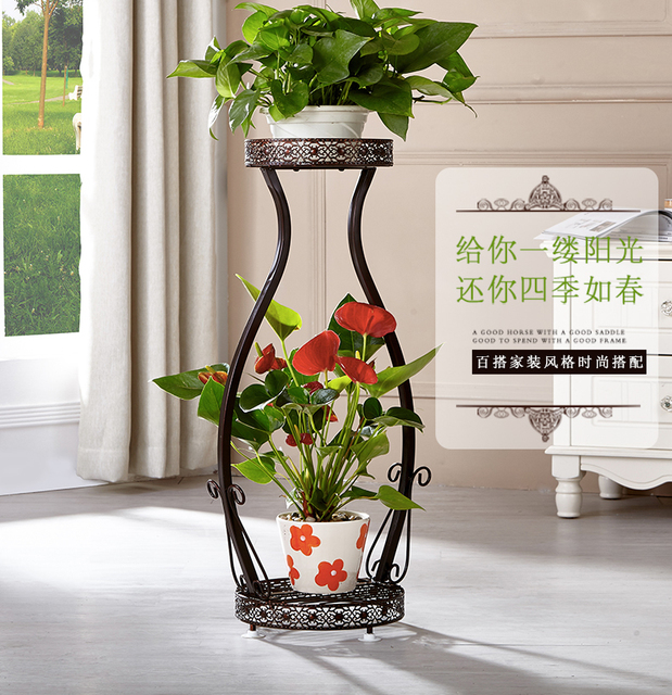 87*38*30cm big size 2 pots european balcony and indoor flower pot holder