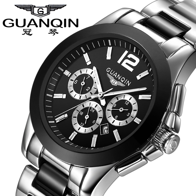 GUANQIN montres hommes Top marque 6 mains Date jour 24 heures affichage étanche acier inoxydable noir poignet hommes Sport Quartz montre
