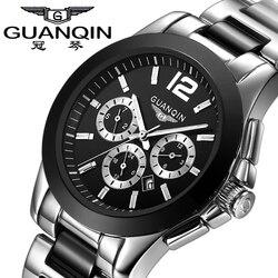 GUANQIN zegarki mężczyźni Top marka 6 ręce data dzień 24 godzin wyświetlacz wodoodporna stal nierdzewna czarny zegarek na rękę mężczyzna sporta zegarek kwarcowy|watch 6|watches quartz watchewatch watch -