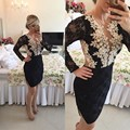 Black Lace Cocktail Dresses Long Sleeve Robe De Cocktail Appliques Beaded See Though Sexy Short Cocktail Dresses 2017