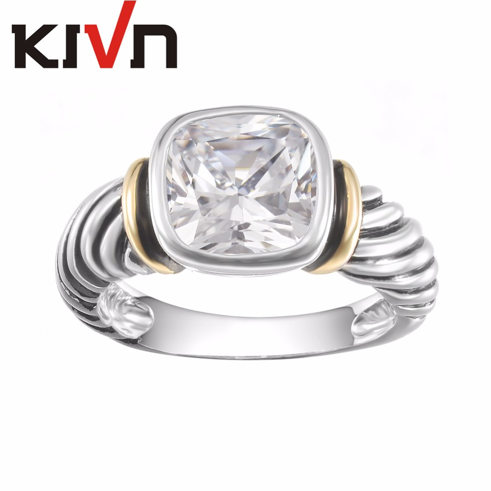 KIVN Jewelry Blue Cubic Zirconia Indian Antique Vintage Womens Girls Wedding Bridal Engagement Rings Gifts 10pcs Lots Wholesale