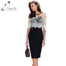 Chu Ni Womens Elegant Vintage Floral Flower Lace Slim See Through Half Sleeve Patchwork Party Club Bodycon Sheath Dress N116