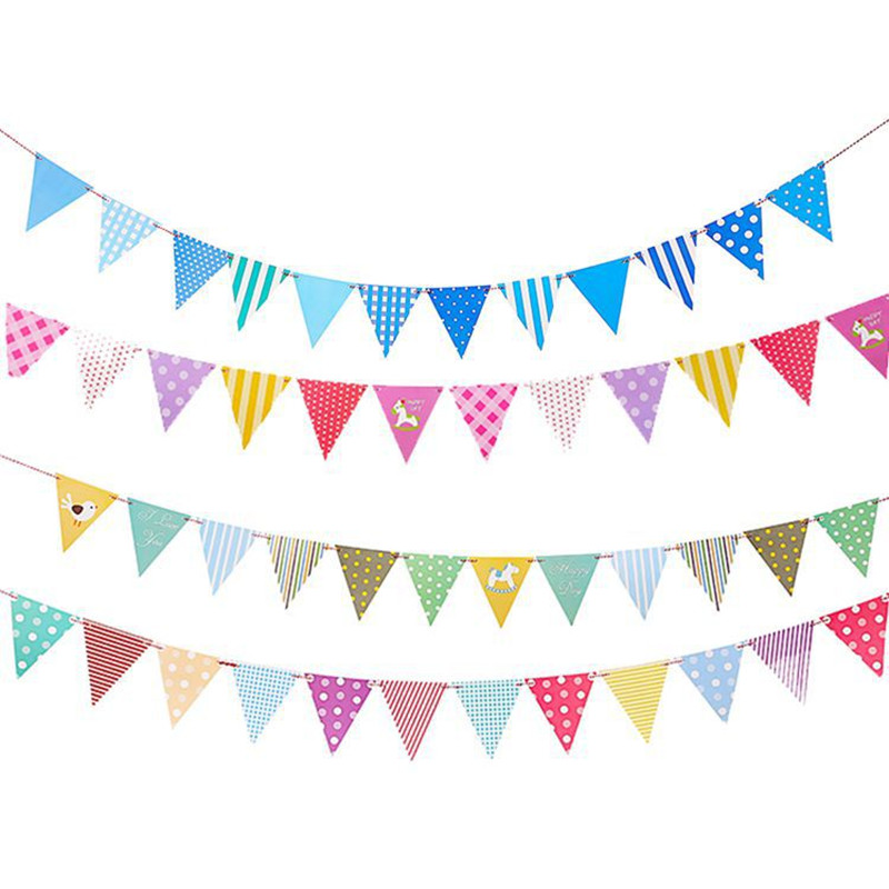 1PC Pink Blue Birthday Wedding Party Flags DIY Paper Banners Bunting for Boys Girls Baby Shower Childrens Birthday Room Decor