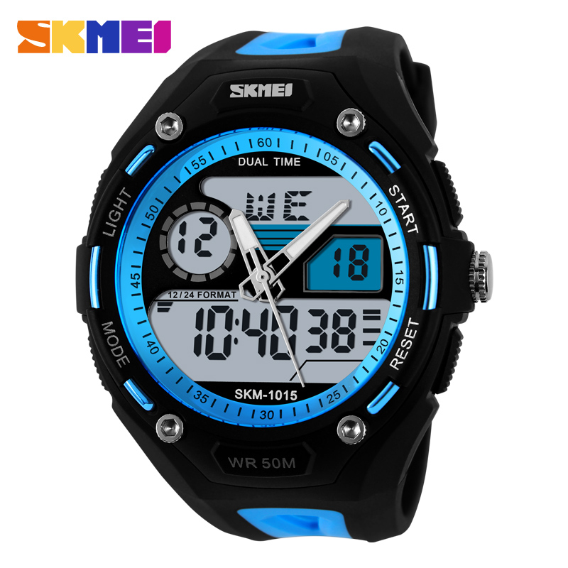 Young Men Sports Military Watch Casual Dress Wristwatches 2 Time Zone Digital Quartz LED Watches 1015