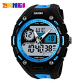 Skmei Brand Young Men Sports Military Watch Fashion Casual Dress Wristwatches 2 Time Zone Digital Quartz LED Watches New 2017