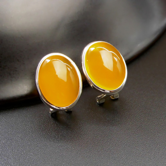 Yellow Agate Earrings 925 Silver Stud Earring for Women Party Wedding Brincos GZ sterling-silver-jewelry boucle d'oreille CE124