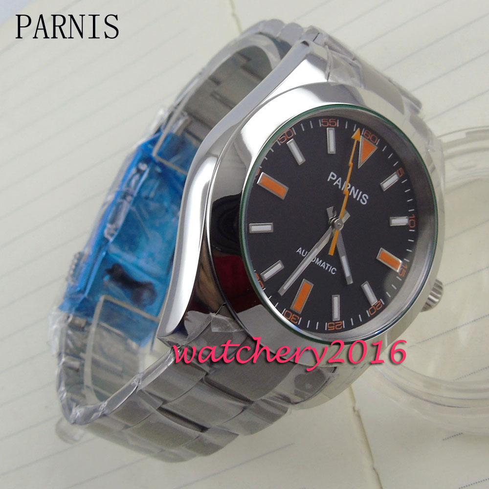 new 40mm Parnis black dial orange & white number stainless steel strap Automatic movement Men's business Watch relojes full stainless steel men s sprot watch black and white face vx42 movement