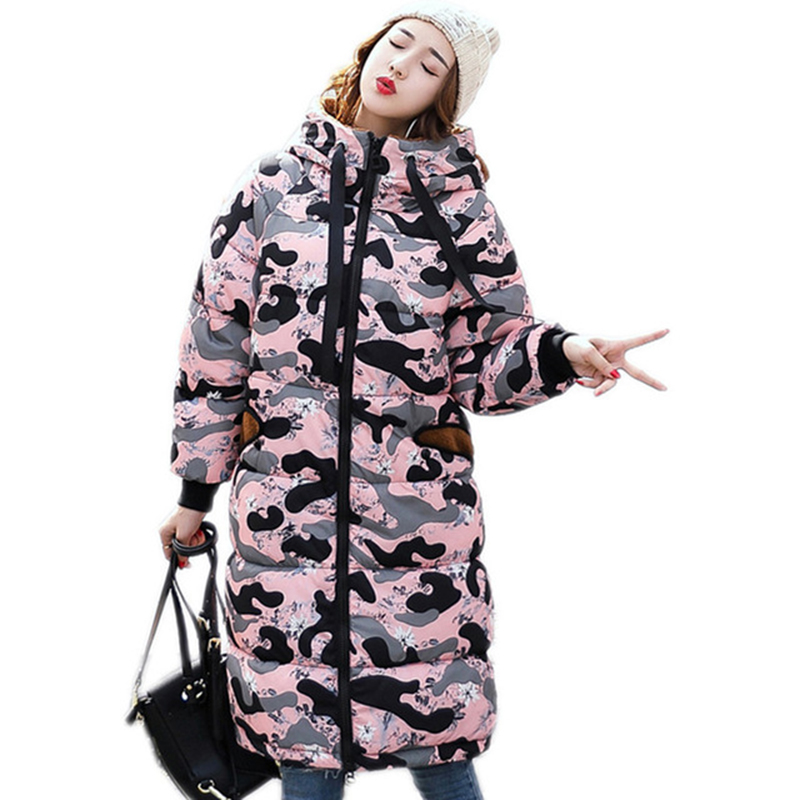 Fashion New 2017 Winter Camouflage Jacket Women Hooded Slim Long Coat Thick Warm Cotton Padded Female Cotton Jacket Coats RE0016 thick hooded down jacket women slim print long winter coat camouflage y160