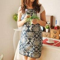 Novo Padrão de Flor Azul de Linho de Algodão Que Cozinha o Avental Delantal Casa Aventais de Limpeza Doméstica Ferramentas Acessórios Frete Grátis