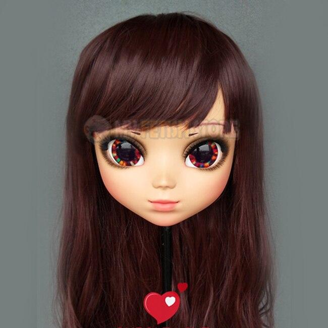 female Sweet Girl Resin Half Head Kigurumi Mask With Bjd Eyes Cosplay Japanese Anime Role Lolita Mask Crossdress Doll Boys Costume Accessories zhi-01