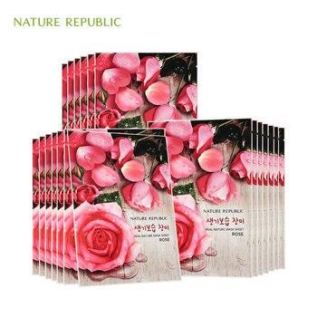 Nature Republic Mask Sheet Rose Cucumber Green Tea Bamboo Royal Jelly Aloe Moisturizing Oil Control Whitening Facial Mask rose