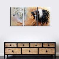 Witte Paarden Abstract Canvas Print Indiase Meisje met Veren Hoofdtooi Retro Thuis Muur Canvas Schilderij voor Kamer Muur Decor