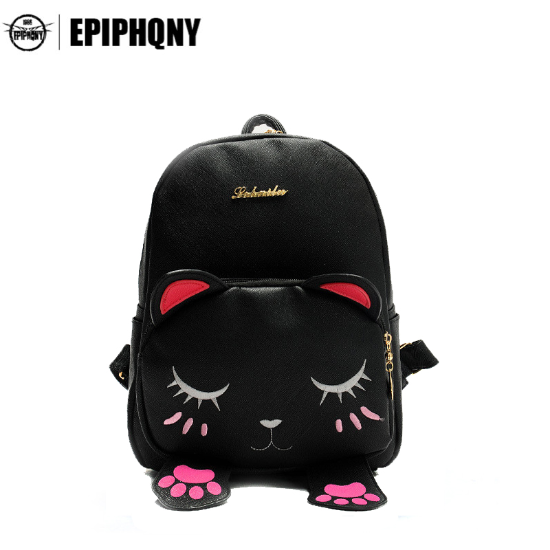 Cute Cat Backpack Funny Kawaii PU Leather School Backpacks Bag for Teenagers Girls Schoolbag Small Animal Bagpack Women tdiyj gift box love heart dangle to mom new collection charms diy stainless steel mesh silver bracelet for mother s day 1set