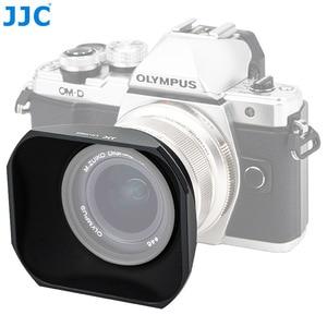 Image 2 - Jjc LH J48II 카메라 올림푸스 m. zuiko 디지털 ed 12mm f/2.0 렌즈 용 후드 캡이있는 블랙 렌즈 후드 olympus LH 48 대체