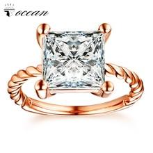 Tocean oro rosa Color moda lindo anillos de boda para las mujeres Simple cuadrado AAA Zircon Retro compromiso Bijoux Bague Size5-12 W043