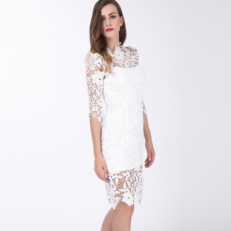 ea6f3ff2 2017 Lace Sheath Dress O Neck Knee Length Hollow Out Women Dresses Straight  Fashion Floral Print Lace White Sheath Bodycon Dress-in Dresses from Women's  ...
