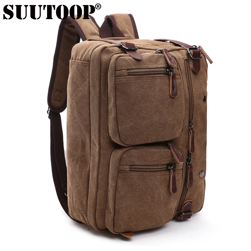 Suutoop Men Canvas Backpack Multifunction Men Travel Tote Male Large Capacity Laptop Shoulder Bags Business Bolsos