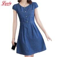 Denim Clothing Women Summer Jeans Dress 2017 New Arrivals Short Sleeve Button Denim Dresses Female Plus
