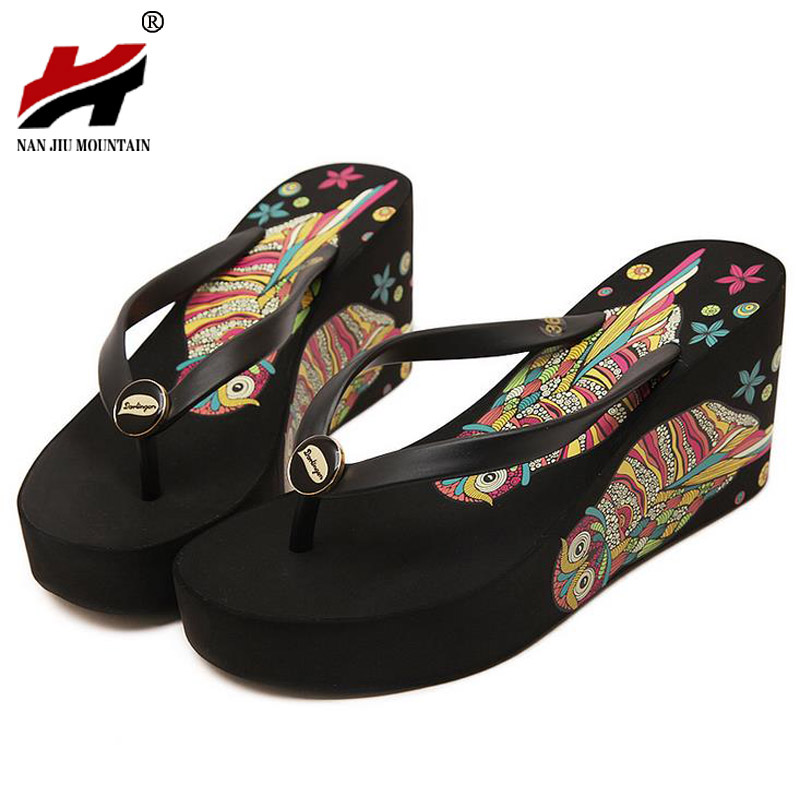 Shoes Women High Heel Sandals Platform Shoes Summer Sandals Non-Slip Beach Flip Flops Women Slippers Wedges Sandalias Femininas купить в Москве 2019