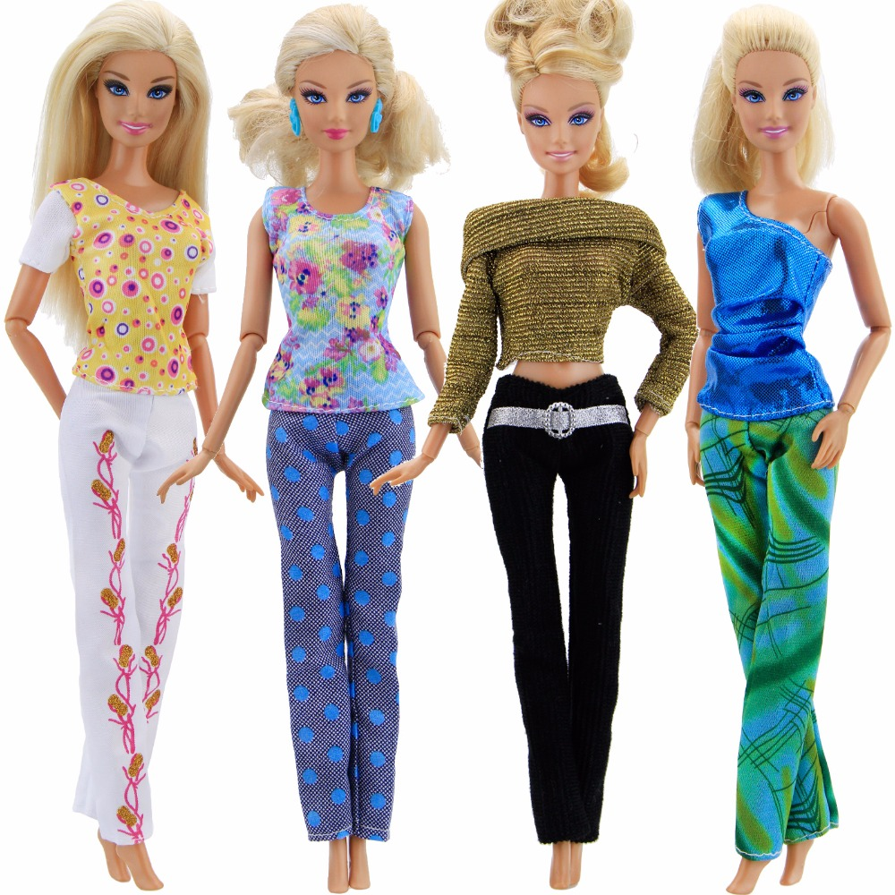 4 Pcs/Lot High Quality Outfit Mixed Style Blouse Pants Trousers Set Clothing Clothes For Barbie Doll Accessories Girls Gift Toy free shipping 5set 5 clothes 5 trousers jacket outfit pants outwear suit set coat for barbie doll dress clothes gift set