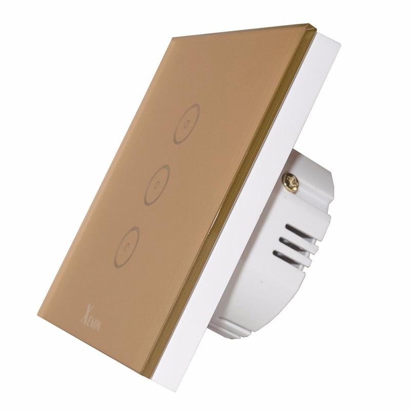 Manufacturer Xenon Wall Switch Work with Amazon Echo Alexa Smart Wi-Fi Switch Glass Panel 3-gang EU Touch Light Switch panel xenon wi fi bulb smart wreless bulb app control rgb e27 led lamps hot sale smart led lighting bulbs works with amazon echo alexa