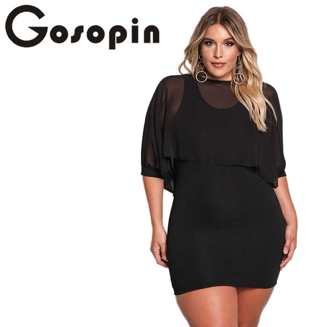 Gosopin Plus Size Party Bodycon Dresses Black XXL For Women Solid ...