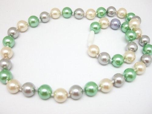 cf3f90635f43 10mm envío libre cáscara de la manera multicolor simulado-perla cuentas  redondas cadenas collar cadena joyería 17 pulgadas f308PE