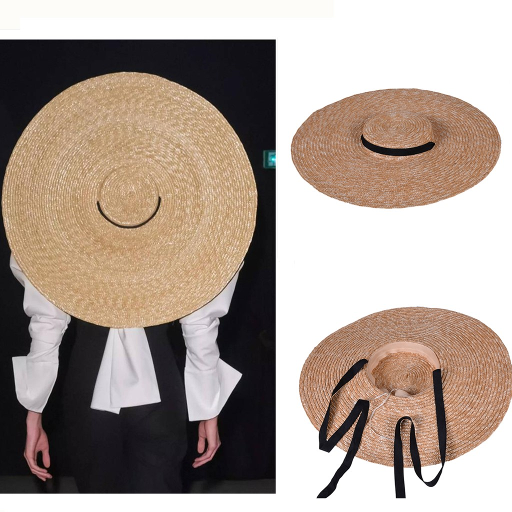 Women Natural Wheat Straw Hat Ribbon Tie Boater Hat Derby Beach Sun Hat Lady Summer Wide Brim UV Protect larger Artistic Hats