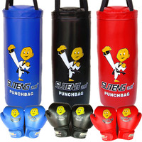 Children Sandbag Empt PU Leather Boxing Gloves Fitness MMA Thai Fight Sanda Training Kick Boxing Bag Punching Fitness Equipment