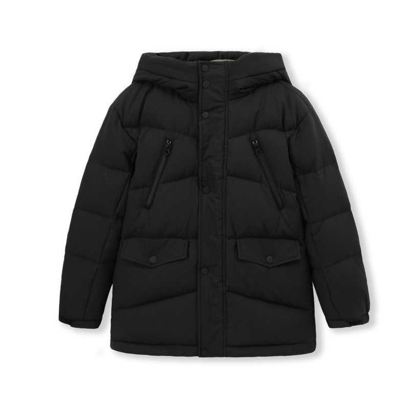 Balabala 男の子付きダウンジャケットスナップとジッパーティーンエイジャーフード付きフグジャケットポケット絹のようなポリエステル裏地