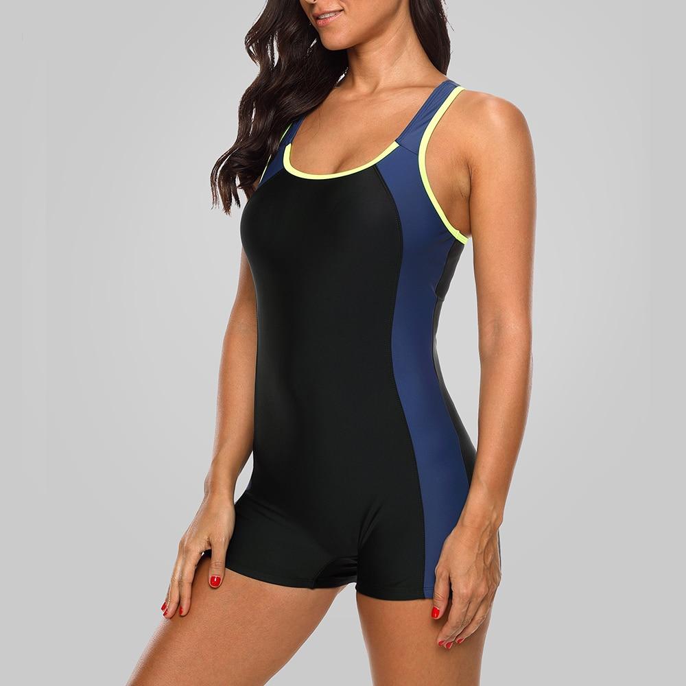 bfd3d15d41 Charmleaks One Piece Women Sports Swimwear Sports Swimsuit Colorblock  Swimwear Open Back Beach Wear Bathing Suits Bikini-in Body Suits from Sports  ...