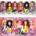 6pcs/set Animators Sharon Dolls Princess doll with box Snow White Ariel Rapunzel Cinderella Aurora Belle dolls for girls