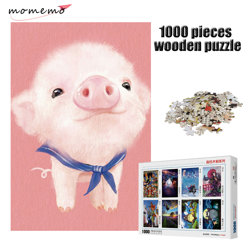 MOMEMO Cute Pink Pig Puzzle 1000 Pieces Wooden Puzzle Adult Puzzle 1000 Pieces Puzzles Children Educational Toy Christmas Gift