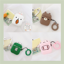 Cute Animal Pig Cony Brown Bear leonard Earphone Cases For Apple Airpods Wireless bluetooth headset Cover For Air pods 2 Fundas