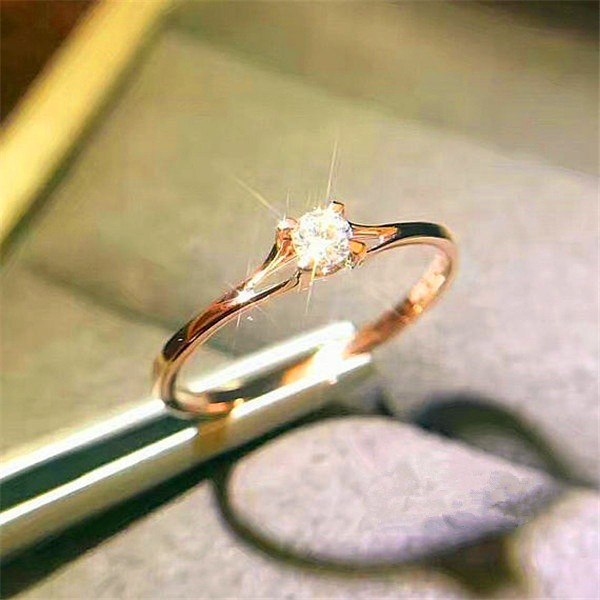 Stone Ring Zircon Crystal Promise Rose-Gold-Color Boho Female Small 925-Silver Women