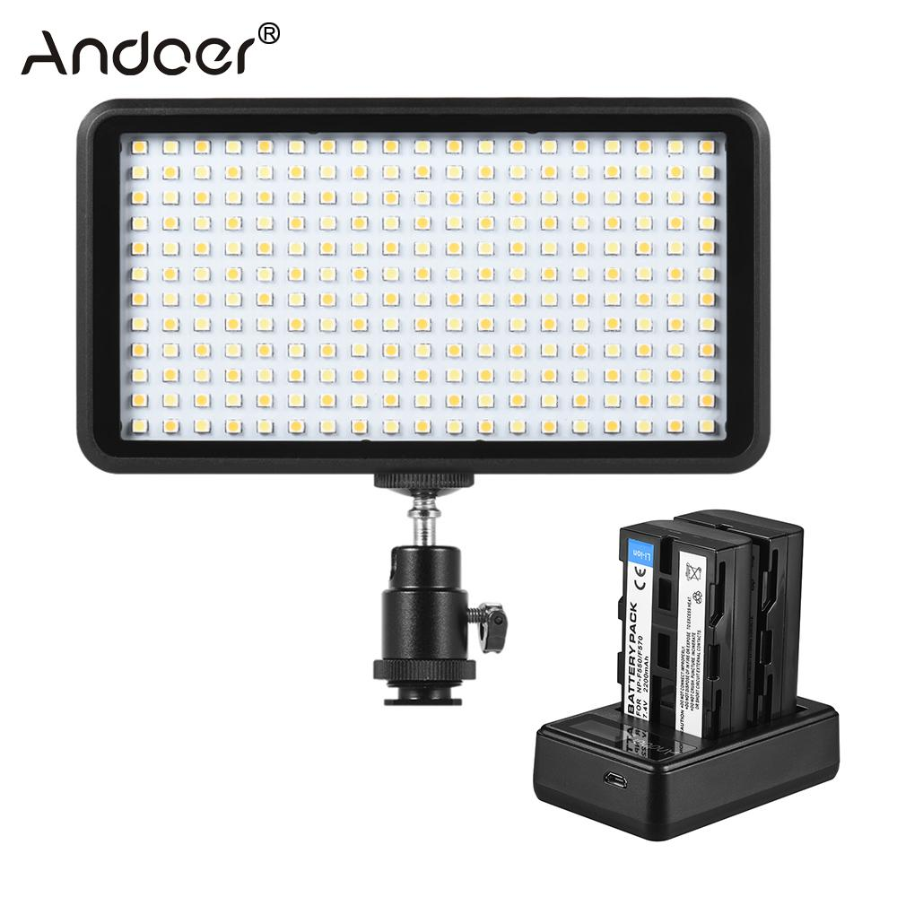 Andoer W228 3200K 6000K Bi color Dimmable LED Video Light + 2pcs Rechargeable Li ion Batteries & 1pc Dual Channel Charger-in Photographic Lighting from Consumer Electronics    1