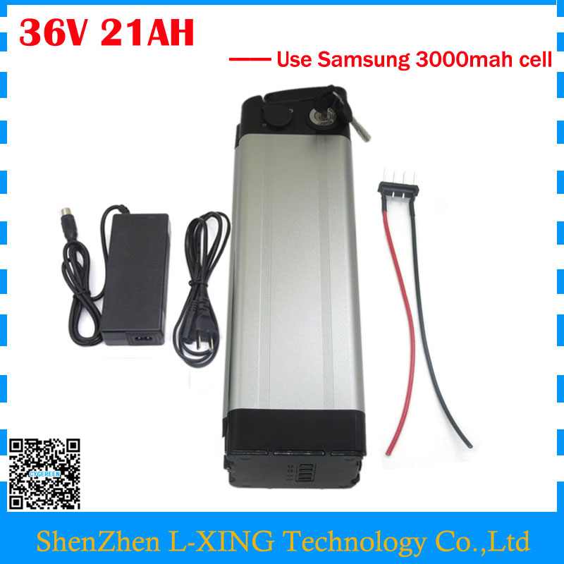 Free customs fee bike battery 36V 21AH 1000W 36 V lithium ion battery use Samsung 3000mah cell with aluminum case 30A BMS free customs taxe 36v 1000w triangle e bike battery 36v 40ah lithium ion battery pack with 30a bms charger for panasonic cell