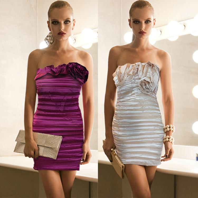 2014 New Nightclub Clothing Womens Celebrity Bandage Bodycon Dress Ladies Strapless Padded Sheath Mini Sexy Party Club Dresses