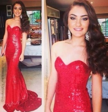 Hot selling red prom dress for women RA-1 elegant sweetheart sequin mermaid dresses 2015
