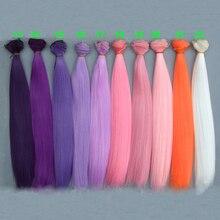 30 см длинные волосы куклы strraight розовый белый коричневый фиолетовый цвет оранжевый белый цвет прямые BJD куклы волосы Treeses diy куклы парики