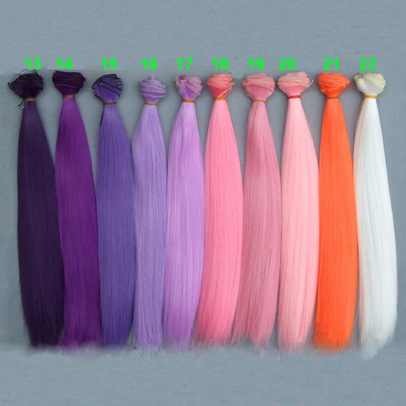 все цены на 30cm long strraight doll hair Pink white brown purple color orange white color straight BJD doll Hair Treeses diy doll wigs онлайн